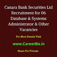 Canara Bank Securities Ltd Recruitment for 06 Database & Systems Administrator, DP Operations & HR Legal Head, CA Vacancies