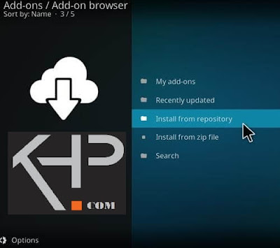 install from Repository of Addons