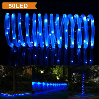 50 LED Solar Rope Lights Blue