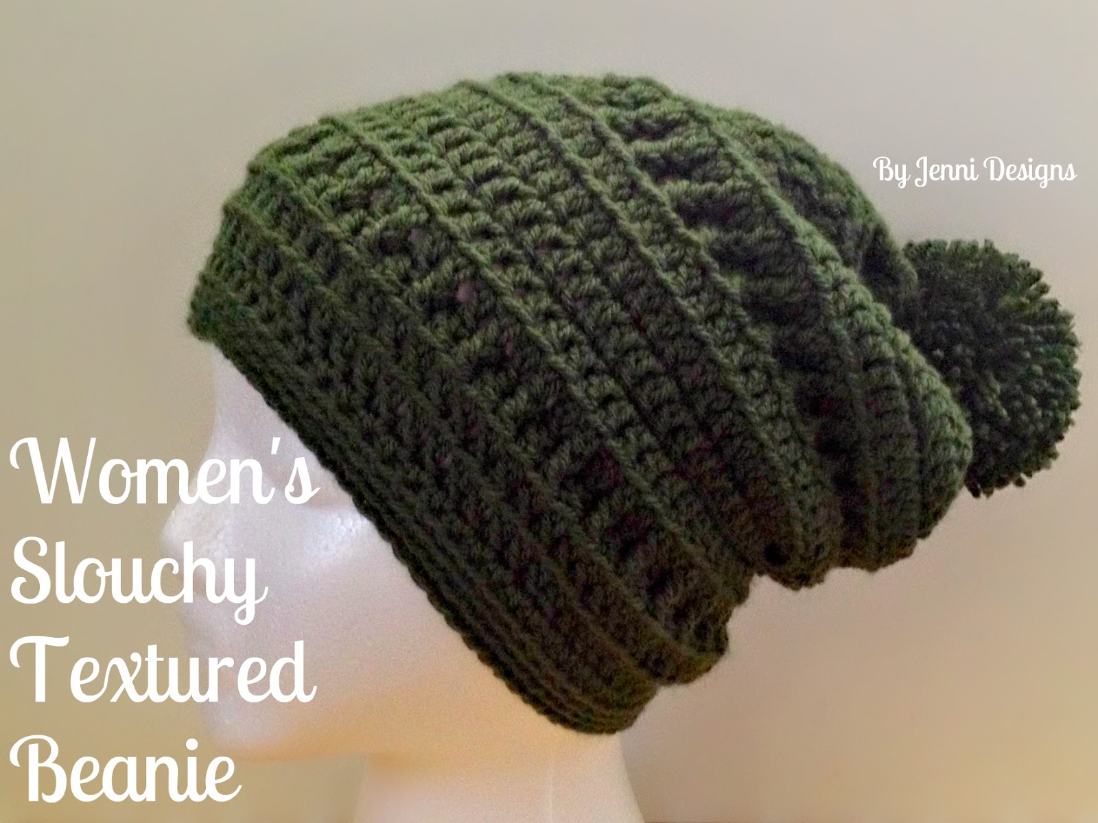 By Jenni Designs  Free Crochet Pattern  Women s Slouchy Textured Beanie 81cc2860f38
