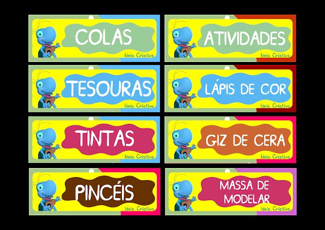 Etiquetas para organização de Material O Grilo Feliz