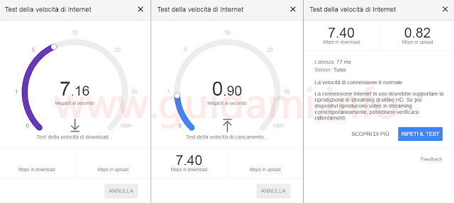 Google Speed Test in azione