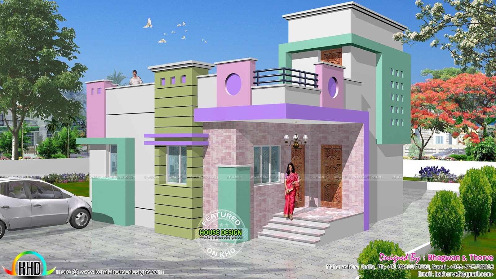 Indian house single floor front elevation designs house for Single house front design