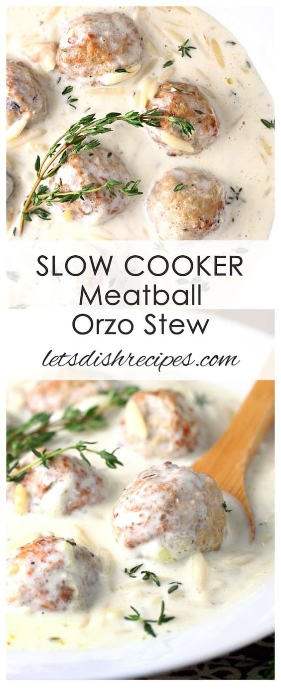 Creamy Slow Cooker Meatball Orzo Stew