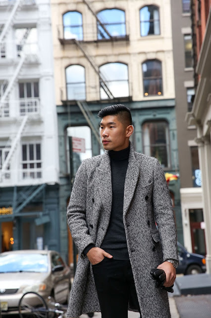 Thom Browne Boots and Sandro Coat, Leo Chan Menswear Outfit