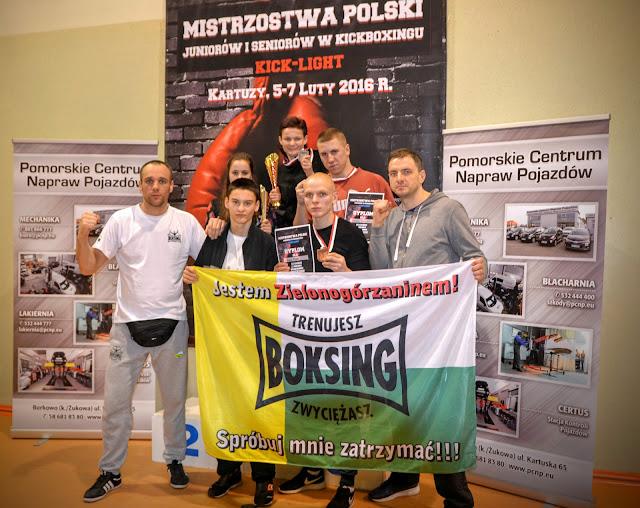 Kartuzy, Mistrzostwa Polski, Polska, kickboxing, złoto, srebro, brąz, kick light, Mistrzostwa 2016, sporty walki Zielona Góra,