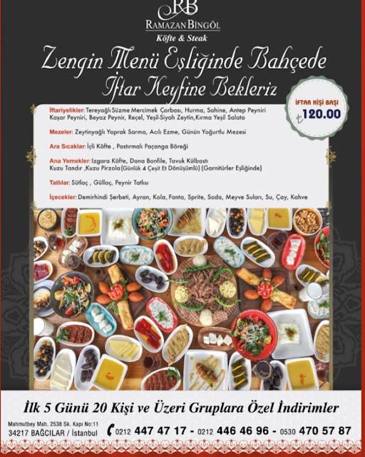 ramazan bingöl köfte steak bağcılar istanbul iftar menüsü ve fiyatları