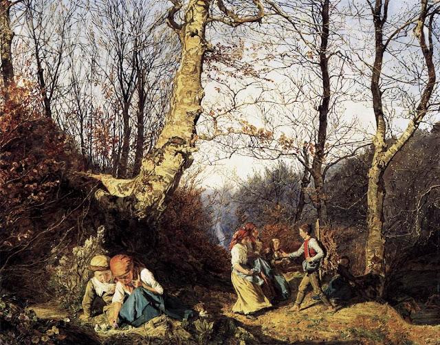 Ferdinand Georg Waldmuller - Primavera temprana en los bosques de Viena - 1864