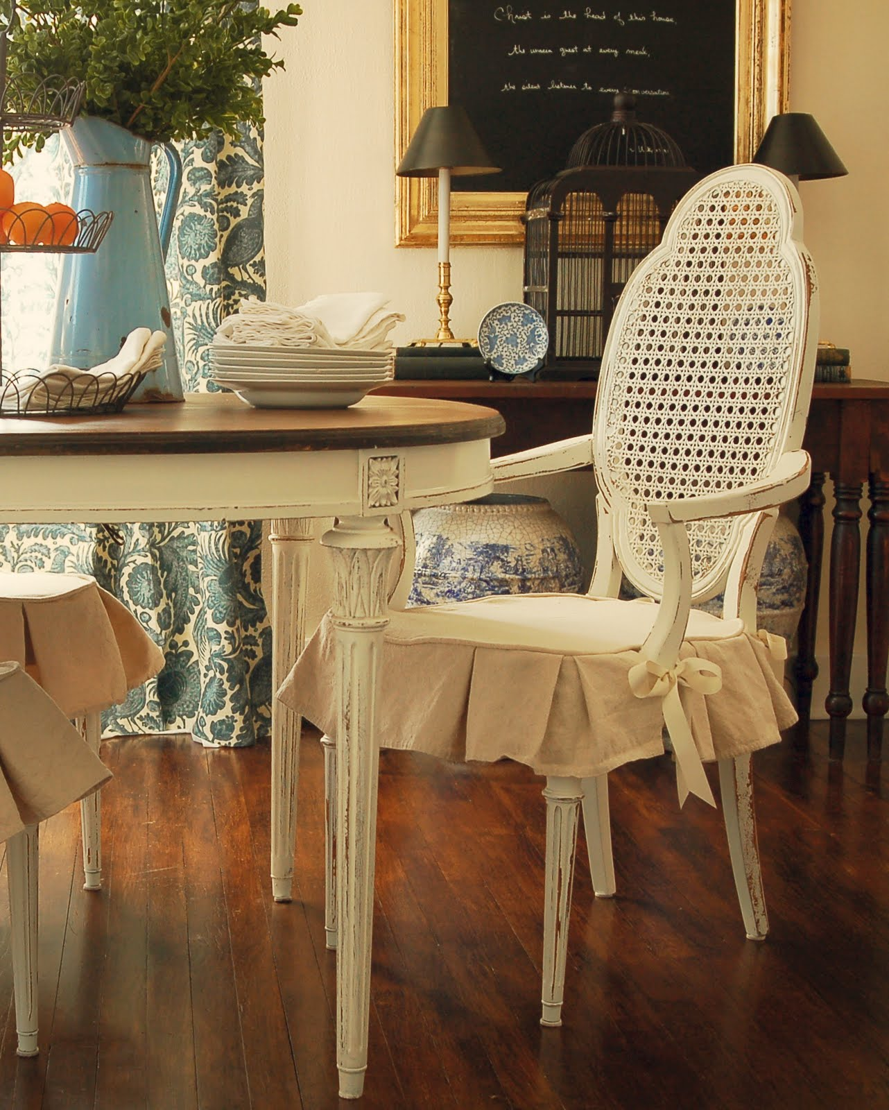 Dining Chair Slipcover Tutorial - Miss Mustard Seed - Dining Room Chair Slipcovers