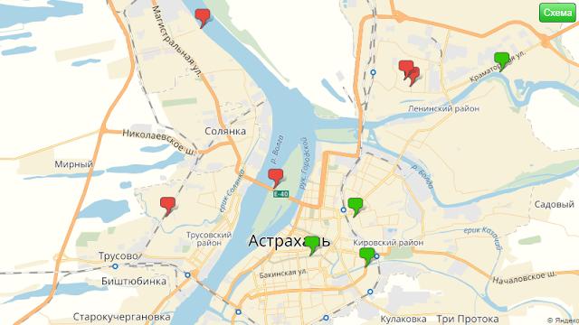 Экологическая карта Астрахания