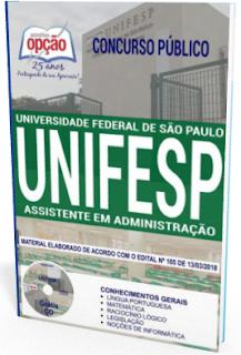 apostila Universidade Federal de São Paulo 2018 Assistente em Administração
