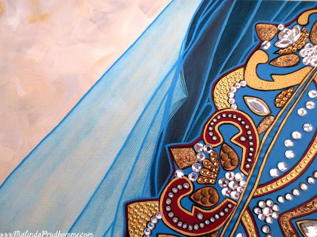 Mehndi Indian Bride, Mehendi, Indian, Bride, Sikh Bride, Hindu Bride, Indian Wedding, Portrait, Portrait Painting, Toronto Portrait Artist, Portrait Artist, Beauty Art, Realistic Painting, Malinda prudhomme, Toronto Artist, Canadian Artist, Gems Art, Gold Art