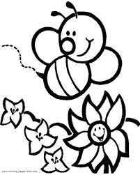 Cute Bee And Flower On Garden Coloring Sheet
