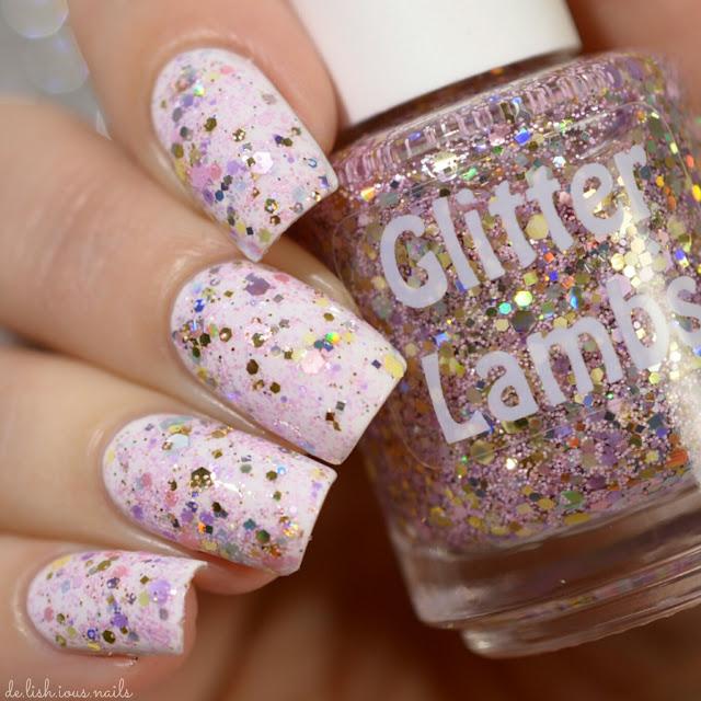 "Glitter Lambs ""Cotton Candy King"" glitter topper nail polish worn by @de.lish.ious.nails"
