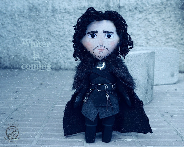 Jon Snow inspired art doll. Handmade OOAK sewn doll. Night's Watch.