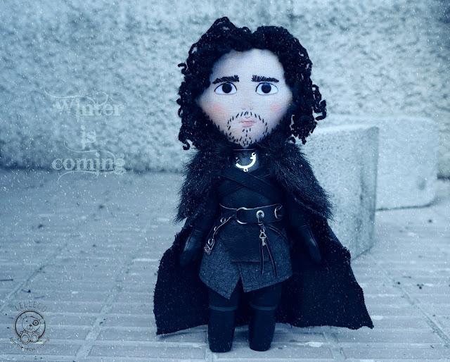 Jon Snow inspired art doll. Handmade OOAK sewn doll. Night's Watch.