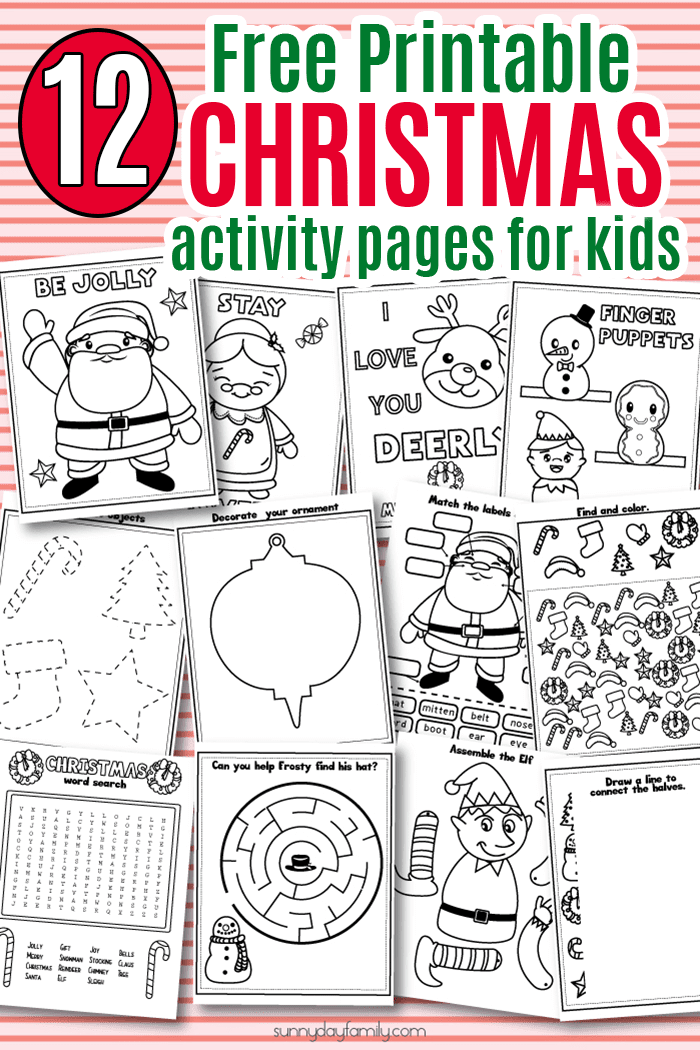 Free Printable Christmas activity pack for kids! Christmas coloring pages, Christmas games, Christmas learning activities, Christmas I Spy, Christmas drawing prompts, and more. #Christmasforkids #Christmasprintables #preschool #kindergarten