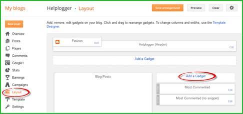 add wedget in blogspot