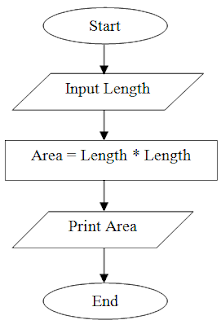Flowchart to print area of square