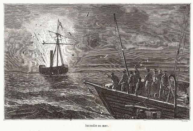Incêndio no mar.