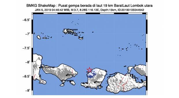 Lombok Utara Diguncang Gempa Bumi