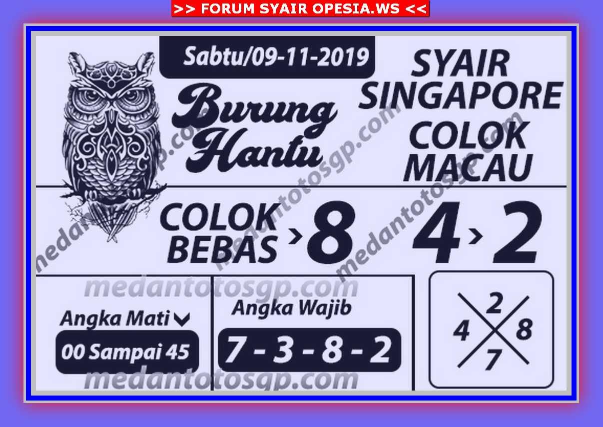 Kode syair Singapore Sabtu 9 November 2019 96