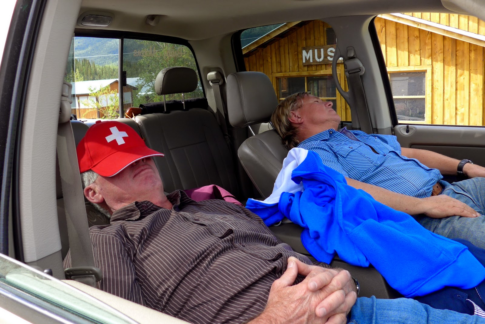Anders and Hansuli having a nap in the truck.