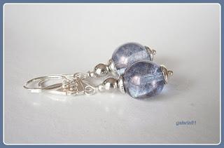 srebrne kolczyki kulki, niebieski, wiszące