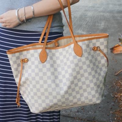 navy stripe maxi skirt and Louis Vuitton damier azur neverfull MM tote bag | awayfromtheblue