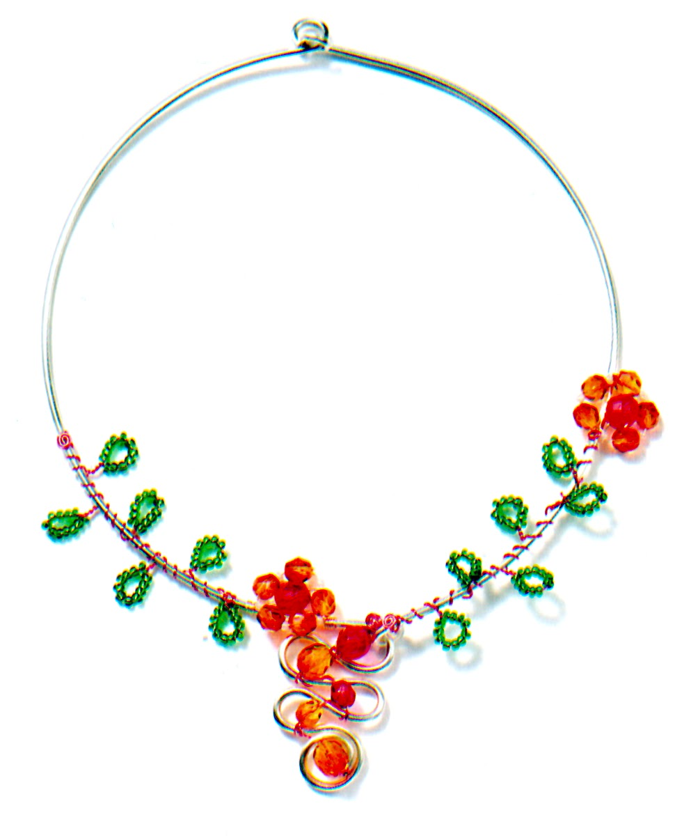Wire wrapped daisy chain jewelry tutorial the beading gems journal as with many great introductory tutorials hers lends itself to more elaborate and creative designs as shown by her wire wrapped neckwire below baditri Choice Image