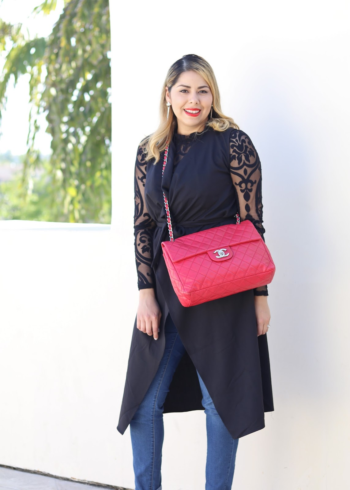 red bag outfit, how to wear a red bag, how to style a red chanel bag, red chanel maxi flap bag