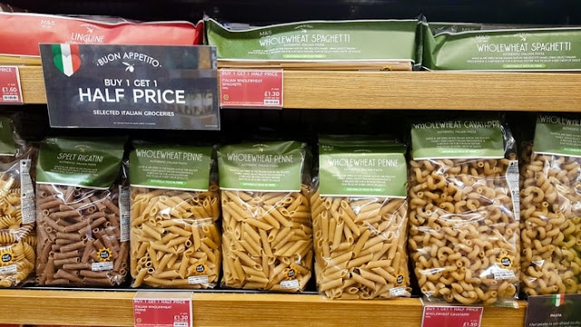 A shelf of M&S wholemeal pasta