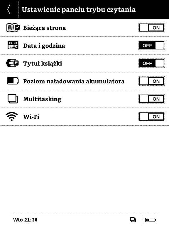 Ustawienia zawartośći paska systemowego w PocketBook Basic Touch 2 Save & Safe
