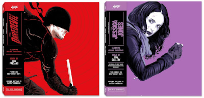Marvel's Daredevil & Jessica Jones Season 1 Soundtrack LP Vinyl Records Cover Artwork by Matthew Woodson & Mondo