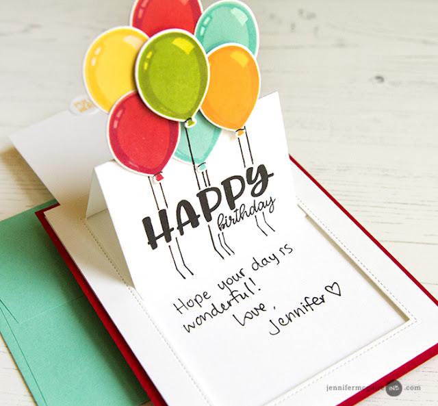 Sunny Studio Stamps: Birthday Balloon Sliding Window Pop-up Card by Jennifer McGuire