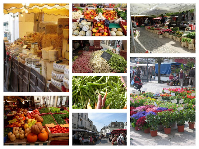 Collage of produce at Loches market in France