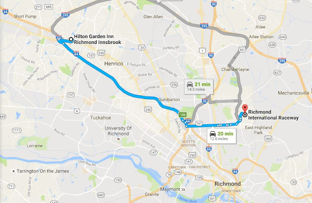 map showing Richmond International Raceway is 12.6 mi/20 min from Hilton Garden Inn Richmond Innsbrook in Glen Allen, VA