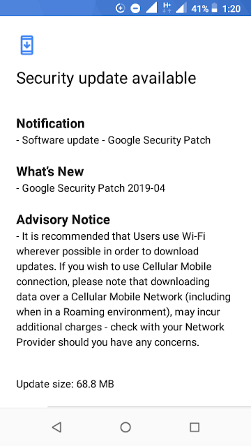 Nokia 1 receiving April 2019 Android Security update