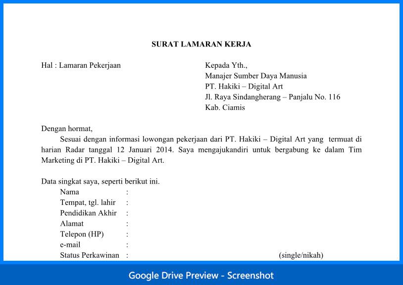 Contoh Surat Lamaran Doc