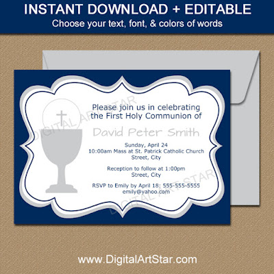 navy & gray boy First Communion invitation template download