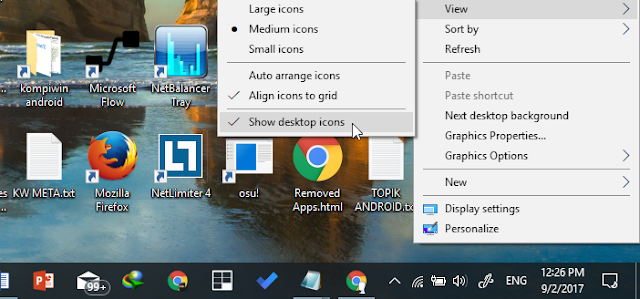 show/hide desktop icon
