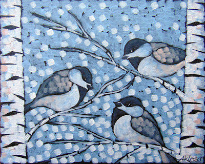 Three Frost Dees painting by duluth artist aaron kloss, painting of a chickadee, painting of chickadees, chickadees and birch, pointillism