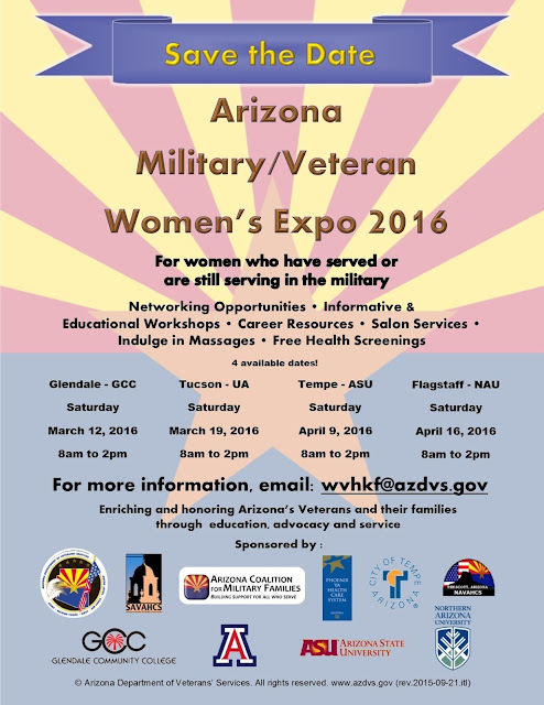 Event flier. See text below for details or visit https://dvs.az.gov/womenvetexpo2016