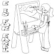 Wenchkin's ABC's of Crafts to Color - E is for Easel