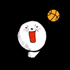 Panda painted sneakily.< basketball>