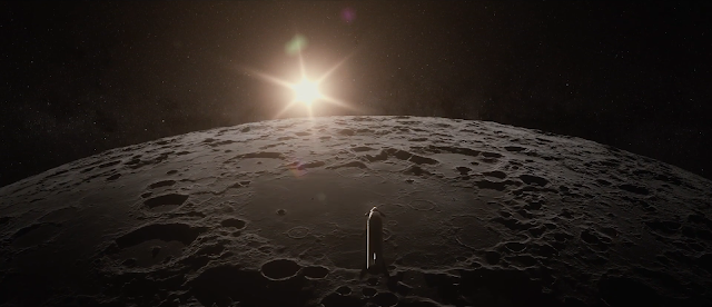 SpaceX Big Falcon Ship (BFS) above the Moon