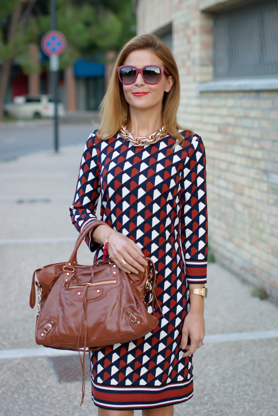1.2.3 Paris Fall/Winter geometric print Delila dress, Balenciaga City Cognac on Fashion and Cookies fashion blog, fashion blogger style
