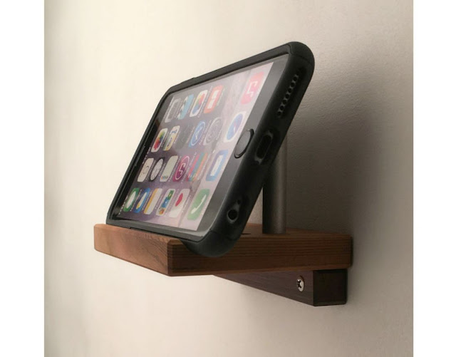 Angled Wall iPhone Stand in Reclaimed Wood