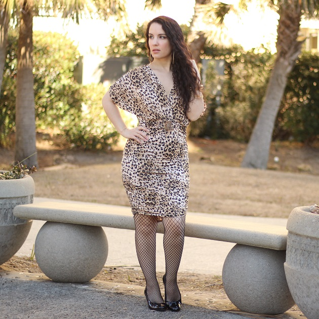Animal Print Ruched Dres