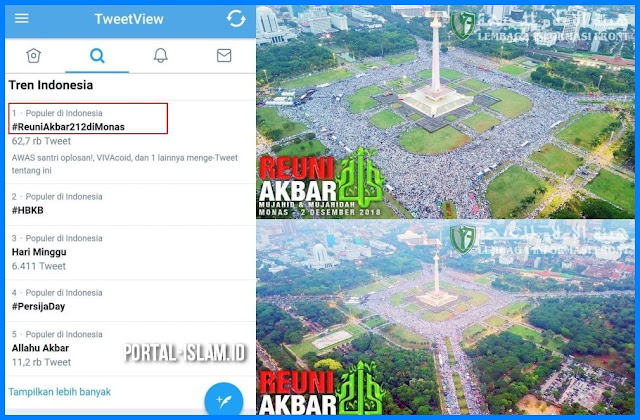 DAHSYAT!!! #ReuniAkbar212diMonas Puncaki Trending Topik Twitter Indonesia